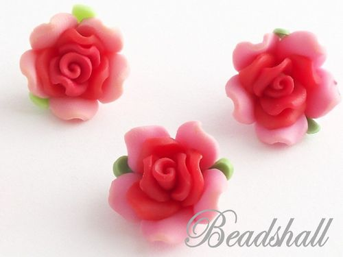 4 Cabochons Rose Polymer Clay Rosa Rot
