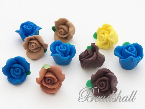 10 Cabochons Rosen Polymer Clay Mix 7