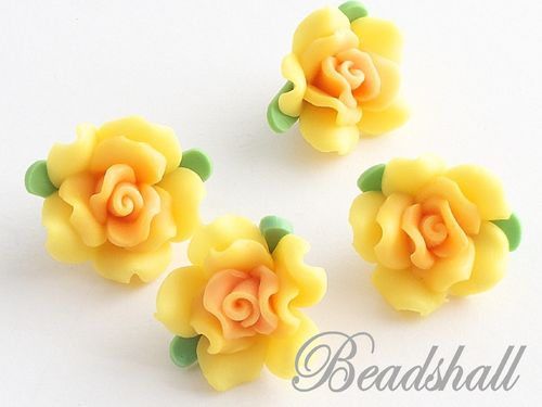 4 Cabochons Rose Polymer Clay Gelb
