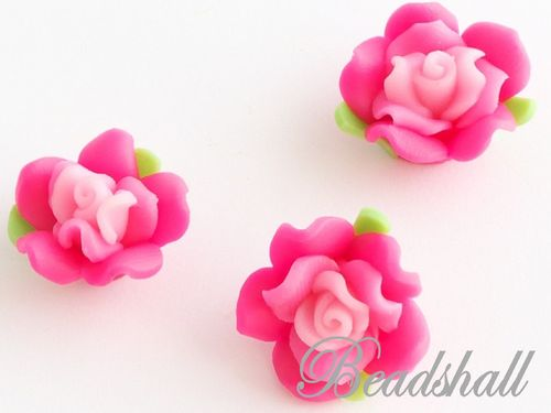 4 Cabochons Rose Polymer Clay Pink