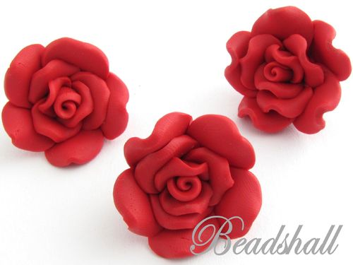 3 Cabochons Rote Rosen Polymer Clay