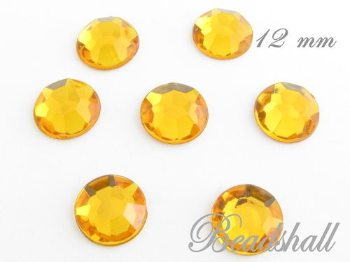 30 Cabochons 12 mm facettiert Farbe Honig